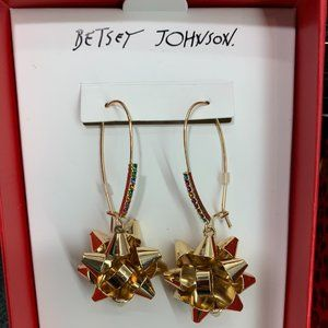 Betsey Johnson Gold Holiday Package Bow Earrings